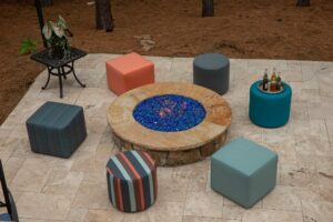 Pool stools for outdoor living.